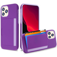 Poket Credit Card Hybrid Armor Case for iPhone 11 Pro - Purple