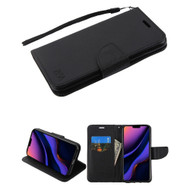 Crossgrain Series Diary Leather Wallet Stand Case for iPhone 11 Pro Max - Black