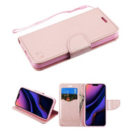 Crossgrain Series Diary Leather Wallet Stand Case for iPhone 11 Pro Max - Rose Gold