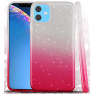 Full Glitter Hybrid Protective Case for iPhone 11 - Gradient Hot Pink