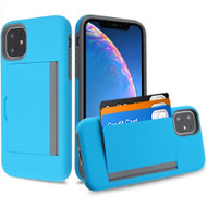 Poket Credit Card Hybrid Armor Case for iPhone 11 - Blue