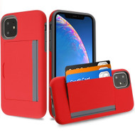 Poket Credit Card Hybrid Armor Case for iPhone 11 - Red