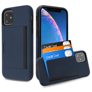 Poket Credit Card Hybrid Armor Case for iPhone 11 - Navy Blue