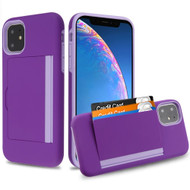 Poket Credit Card Hybrid Armor Case for iPhone 11 - Purple
