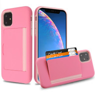 Poket Credit Card Hybrid Armor Case for iPhone 11 - Pink
