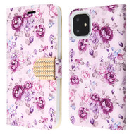 Diamond Series Luxury Bling Portfolio Leather Wallet Case for iPhone 11 - Fresh Purple Flowers