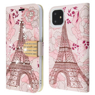 Diamond Series Luxury Bling Portfolio Leather Wallet Case for iPhone 11 - Eiffel Tower
