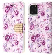 Diamond Series Luxury Bling Portfolio Leather Wallet Case for iPhone 11 Pro - Fresh Purple Flowers