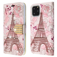 Diamond Series Luxury Bling Portfolio Leather Wallet Case for iPhone 11 Pro - Eiffel Tower