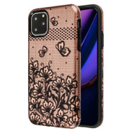 Fuse Slim Armor Hybrid Case for iPhone 11 Pro Max - Lace Flowers Rose Gold