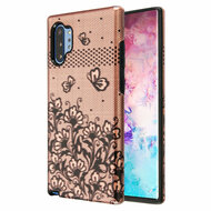 Fuse Slim Armor Hybrid Case for Samsung Galaxy Note 10 Plus - Lace Flowers Rose Gold