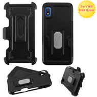 Ultra Rugged Hybrid Kickstand Case with Card Slot and Holster for Samsung Galaxy A10e - Black