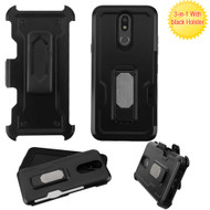 Ultra Rugged Hybrid Kickstand Case with Card Slot and Holster for LG K40 - Black