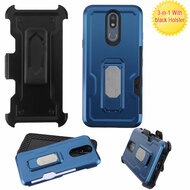 Ultra Rugged Hybrid Kickstand Case with Card Slot and Holster for LG K40 - Blue