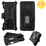 Ultra Rugged Hybrid Kickstand Case with Card Slot and Holster for LG Stylo 5 - Black