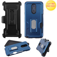 Ultra Rugged Hybrid Kickstand Case with Card Slot and Holster for LG Stylo 5 - Blue
