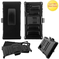 Advanced Armor Hybrid Kickstand Case with Holster Belt Clip for Samsung Galaxy Note 10 - Black