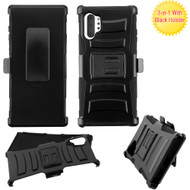 Advanced Armor Hybrid Kickstand Case with Holster Belt Clip for Samsung Galaxy Note 10 Plus - Black