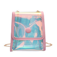 Iridescent Stadium Crossbody Bag - Pink