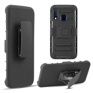 Advanced Armor Hybrid Kickstand Case with Holster Belt Clip for Samsung Galaxy A20 - Black 72741