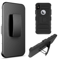 Advanced Armor Hybrid Kickstand Case with Holster Belt Clip for iPhone XS / X - Black
