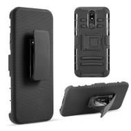 Advanced Armor Hybrid Kickstand Case with Holster Belt Clip for LG K40 - Black 69116