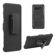 Advanced Armor Hybrid Kickstand Case with Holster Belt Clip for Samsung Galaxy S10e - Black