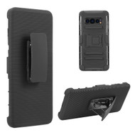 Advanced Armor Hybrid Kickstand Case with Holster Belt Clip for Samsung Galaxy S10 Plus - Black
