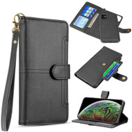 Napa Collection Luxury Leather Wallet with Magnetic Detachable Case for iPhone 11 - Black