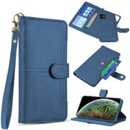 Napa Collection Luxury Leather Wallet with Magnetic Detachable Case for iPhone 11 - Navy Blue