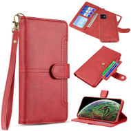 Napa Collection Luxury Leather Wallet with Magnetic Detachable Case for iPhone 11 - Red