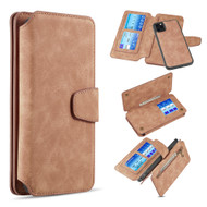 3-IN-1 Luxury Coach Series Leather Wallet with Detachable Magnetic Case for iPhone 11 Pro - Brown
