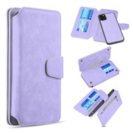 3-IN-1 Luxury Coach Series Leather Wallet with Detachable Magnetic Case for iPhone 11 Pro - Lavender