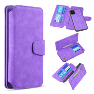 3-IN-1 Luxury Coach Series Leather Wallet with Detachable Magnetic Case for iPhone 11 Pro - Purple