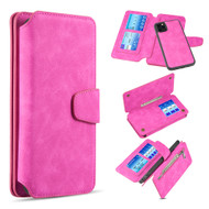 3-IN-1 Luxury Coach Series Leather Wallet with Detachable Magnetic Case for iPhone 11 Pro Max - Hot Pink