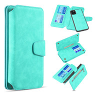 3-IN-1 Luxury Coach Series Leather Wallet with Detachable Magnetic Case for iPhone 11 Pro Max - Teal