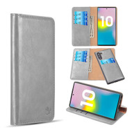 2-IN-1 Luxury Magnetic Leather Wallet Case for Samsung Galaxy Note 10 - Grey