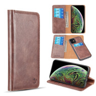 2-IN-1 Luxury Magnetic Leather Wallet Case for iPhone 11 - Brown