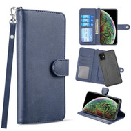 3-IN-1 Infinity Series Luxury Leather Wallet Case for iPhone 11 - Navy Blue