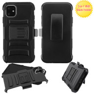Advanced Armor Hybrid Kickstand Case with Holster Belt Clip for iPhone 11 - Black