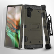 3-IN-1 Military Grade Certified Storm Tank Hybrid Case + Holster + Screen Protector for Samsung Galaxy Note 10 - Grey