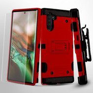 3-IN-1 Military Grade Certified Storm Tank Hybrid Case + Holster + Screen Protector for Samsung Galaxy Note 10 - Red