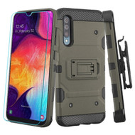 3-IN-1 Military Grade Certified Storm Tank Case + Holster + Tempered Glass Protector for Samsung Galaxy A50 - Dark Grey