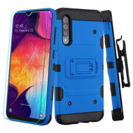 3-IN-1 Military Grade Certified Storm Tank Case + Holster + Tempered Glass Protector for Samsung Galaxy A50 - Blue
