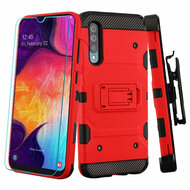 3-IN-1 Military Grade Certified Storm Tank Case + Holster + Tempered Glass Protector for Samsung Galaxy A50 - Red