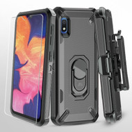 Military Grade Certified Brigade Hybrid Case + Holster + Tempered Glass Screen Protector for Samsung Galaxy A10e - Black