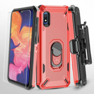 Military Grade Certified Brigade Hybrid Case + Holster + Tempered Glass Screen Protector for Samsung Galaxy A10e - Red
