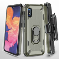 Military Grade Certified Brigade Hybrid Case + Holster + Tempered Glass Screen Protector for Samsung Galaxy A10e - Grey