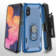 Military Grade Certified Brigade Hybrid Case + Holster + Tempered Glass Screen Protector for Samsung Galaxy A10e - Blue