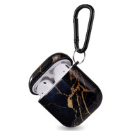 Designer Hard Shell Protective Case with Carabiner Clip for Apple AirPods - Marble Black Gold